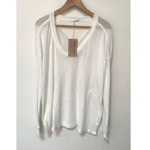NWT PROJECT SOCIAL T WAFFLE LONG SLEEVE CREAM TOP